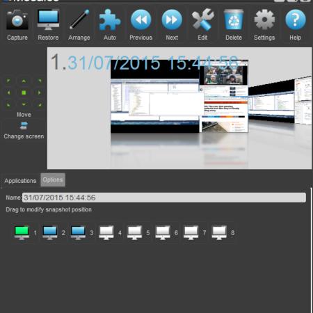 Snapshot options panel open