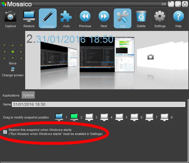 Restore snapshots when Windows starts